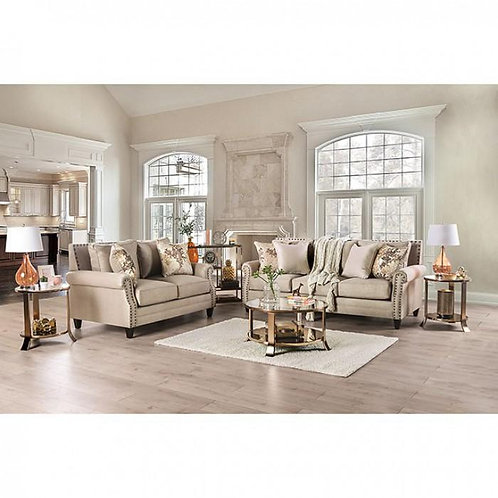 BRIANA Imprad Transitional Beige Gold Chenille Fabric w/nailheads Sofa
