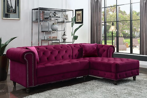 Sectional Sofa w/2 Pillows - 57315 All Red Velvet