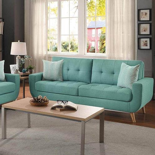 Deryn Henry Teal Mid-Century Sofa