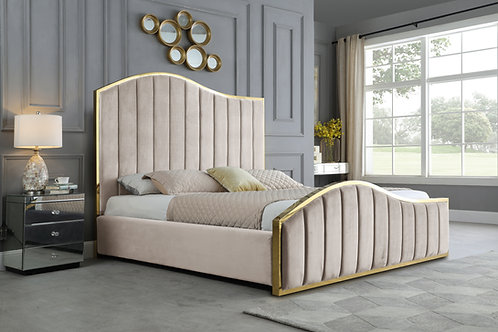 Best B60 Beige Velvet Fabric Platfor Bed with Gold Accents