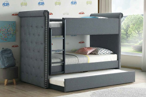 Romana All Gray Fabric Bunk Bed Twin/Twin & Trundle