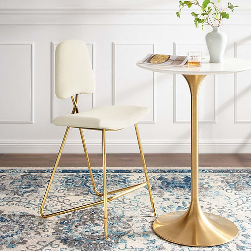 Ponder Mod Velvet Bar Stool in Ivory