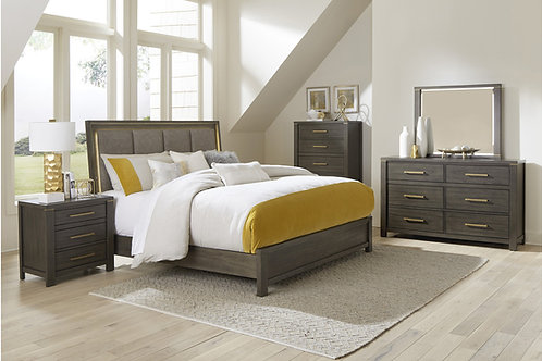 Scarlett Henry Brownish Gray Fabric LED Bed