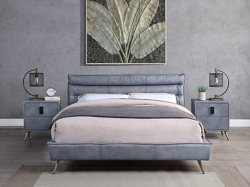 Doris All Gray Top Grain Leather Bed