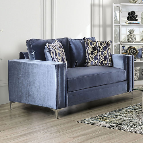 JODIE Imprad Contemporary Satin Blue Microfiber Loveseat