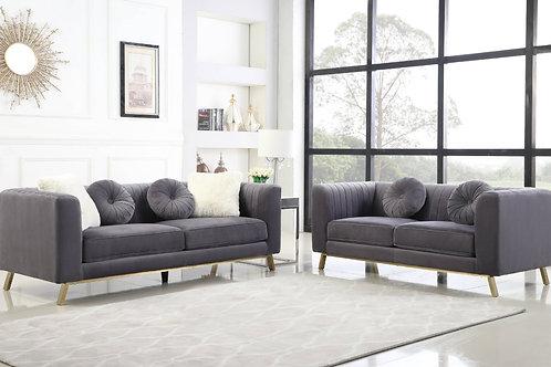 Best S450 Dark Gray Velvet Sofa