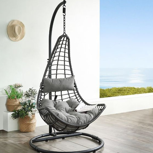 All Patio Gray Fabric & Charcoal Wicker Hanging Chair with Stand - 45105