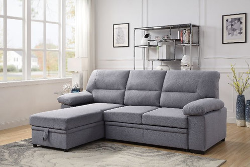 All 55525 Gray Fabric Reversible Storage Sleeper Sectional Sofa