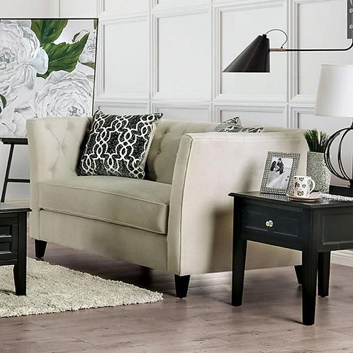 MONAGHAN Import Tufted Ivory Loveseat