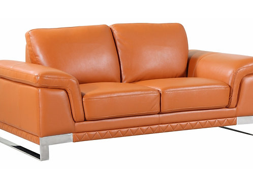 Geo 411 Camel Loveseat Italian Leather