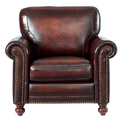 HAMPTON Italia Chesterfield w/Nailheads Brown Genuine Leather Chair