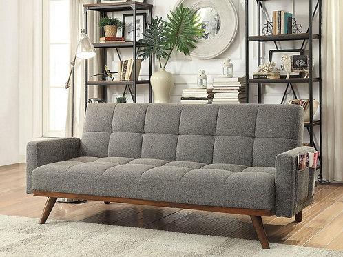 NETTIE Imprad Mid-Century Gray Futon (Sofa Bed)