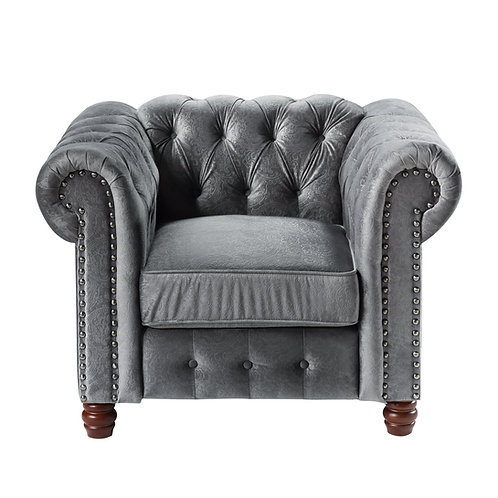 Henry Welwyn Chesterfield Tufted Dark Gray Velvet Chair