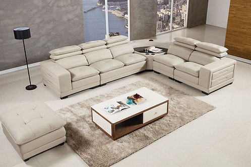 121 AE Light Gray Genuine Leather Sectional