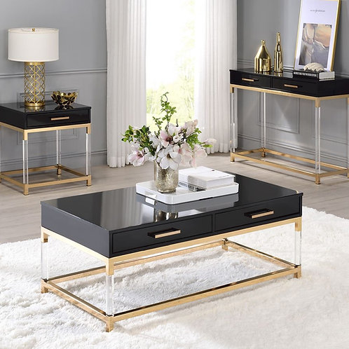 All 82345 ADIEL Black & Gold Finish Coffee Table