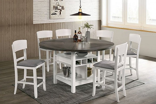 STACIE Imprad Transitional 2 Tone Gray/White Wine Rack Round Counter Ht. Table