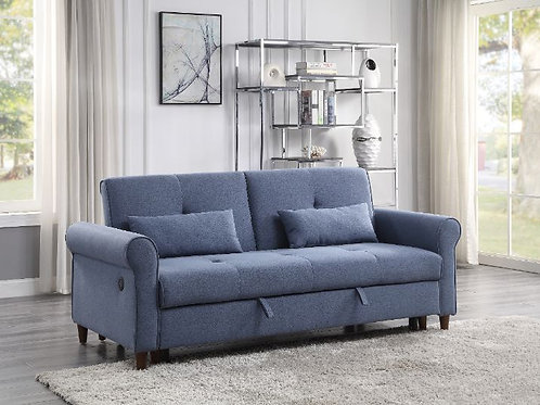 All Nichelle Blue Fabric Sofa Futon-Pullout Bed