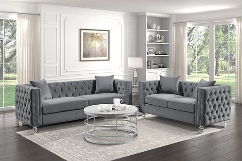 Henry 9349GRY Glam Gray Velvet Sofa with Crystal Legs/Nailheads