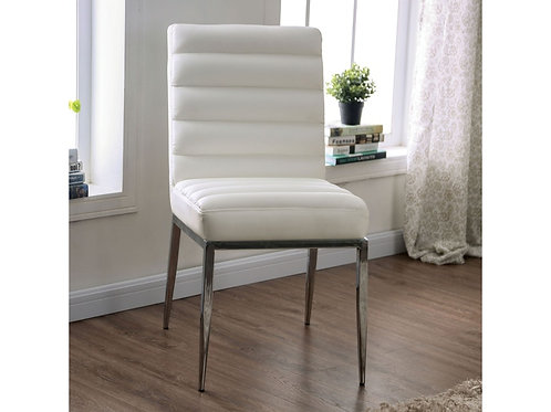 CILEGON Imprad White Leather Side Chair
