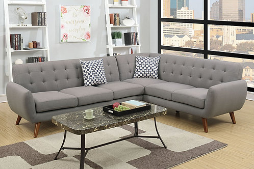 2pc Sectional Grey Port 6961 Mid-Century