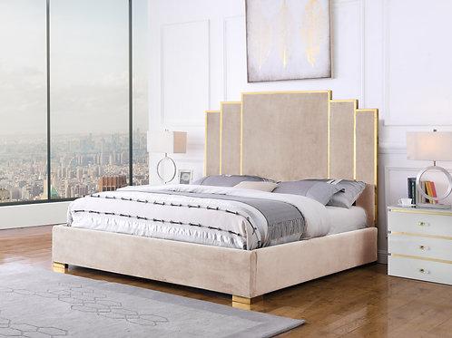 Best B52 Beige Velvet Fabric Bed Frame