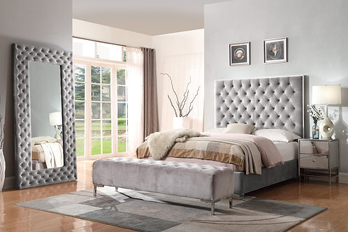 Lacey Emerald Upholstered Grey Bed