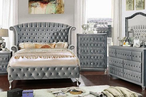 Imprad Alzire Gray Velvet Glam Bed