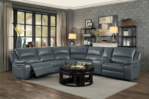 Henry Falun Gray Faux Leather Reclining Sectional