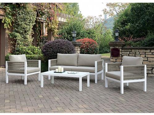 MAZIE Imprad Contemporary White, Light Taupe Loveseat, 2 Chairs (3pcs) Patio Set