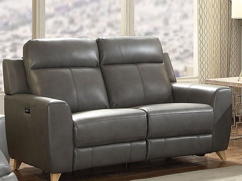 Cayden All Loveseat (Power Motion) Gray Leather-Aire Match