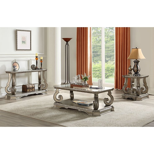 All Northville Traditional Antique Silver & Clear Glass Coffee Table