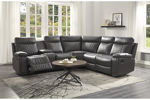 Socorro Henry Grey Faux Leather Reclining Sectional