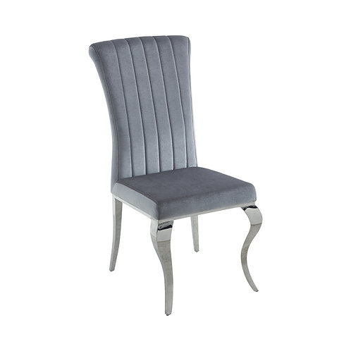 Carone Cali Upholstered Side Chair Grey And Chrome