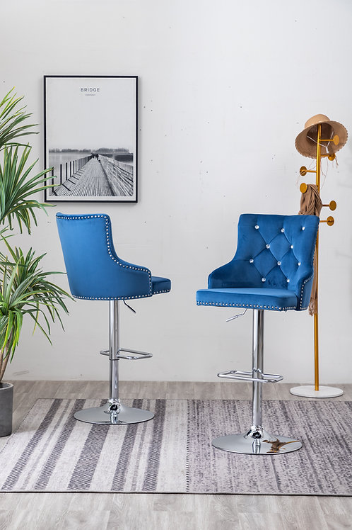Best BS53 Blue Velvet Adjustable Barstool