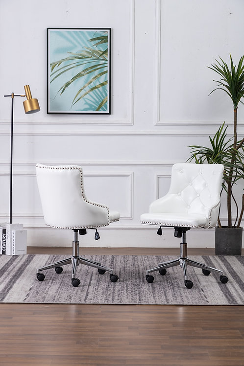 Best OC46 White Faux Leather Tufted Adjustable Office Chair