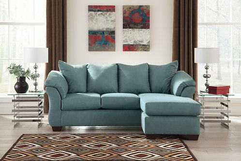 Darsy Angel Teal Polyester Sofa Chaise