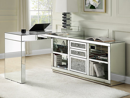 All Glam Noralie 93118 Mirrored Built in USB Writing Desk