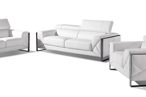 903 Geo Italian Leather White Sofa