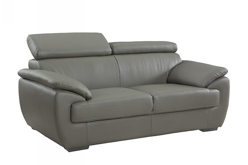 4571 Geo Gray Leather Loveseat