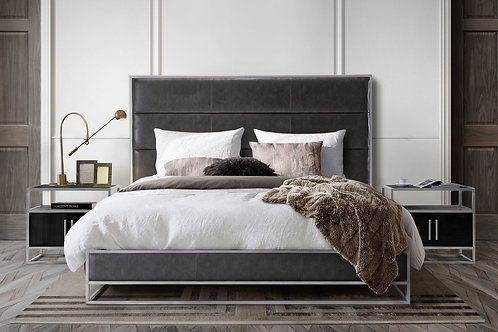 Empire Dream Grey Bed and Silver Metal Frame