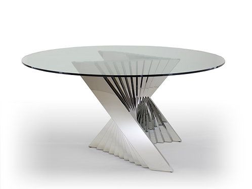 Ace Shar Round Dining Table Glass and Stainless Steel