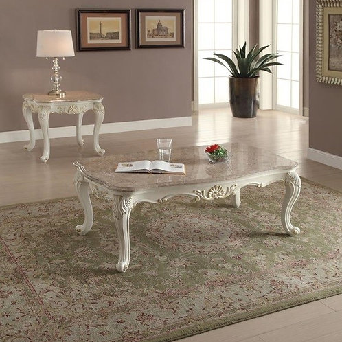 All Chantelle Coffee Table w/Marble Top  Marble & Pearl White