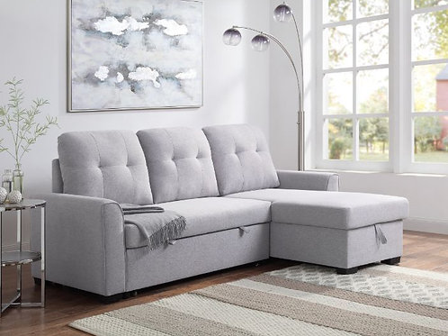 All LIGHT GRAY FABRIC AMBOISE Reversible Storage Sofa Chaise