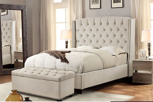 Dream Majestic Tan Velvet Bed w/Nailheads