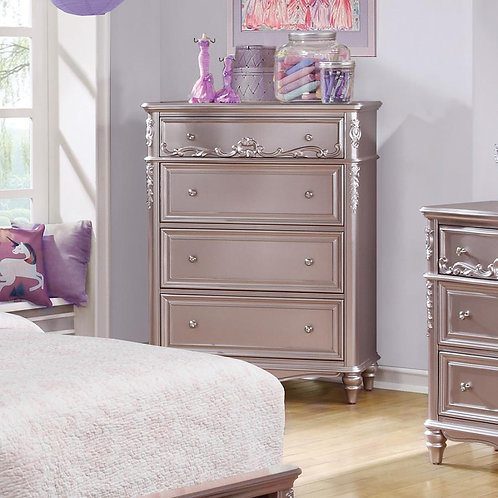 Caroline Cali 4-Drawer Chest Metallic