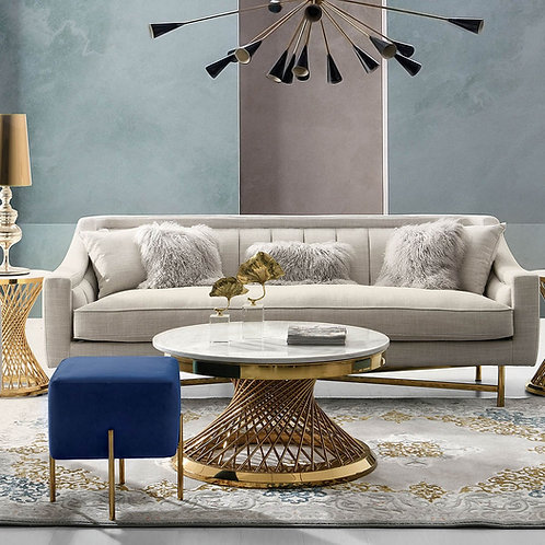 Dream Croft -Sand Linen Fabric / Gold Base Sofa