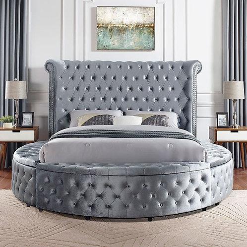 DELILAH Imprad Glam Gray Velvet Tufted Bed