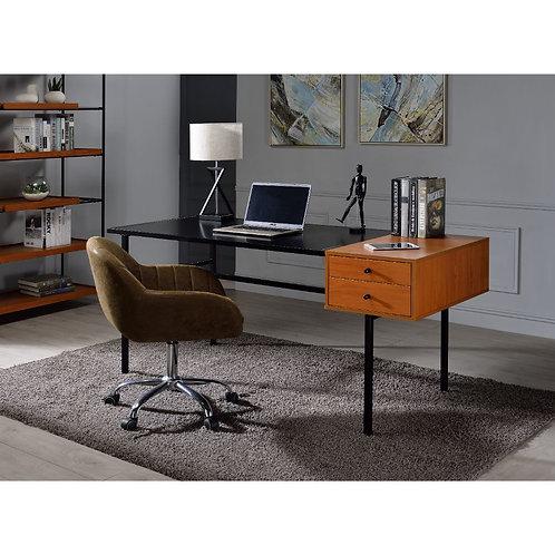 All Oaken Honey Oak and Black Industrial Desk