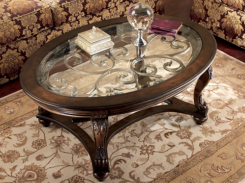 Angel Norcastle Traditional Dark Brown Glass Oval Coffee Table