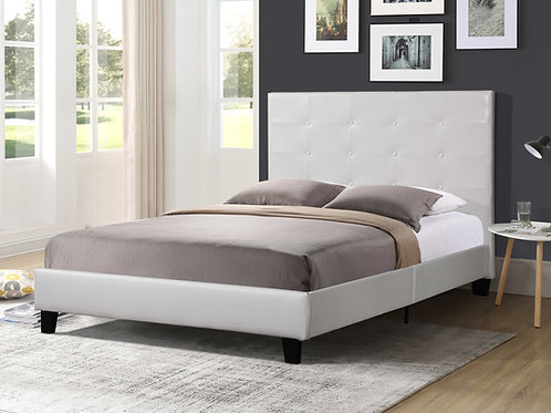7597 Mg White Faux Leather Platform Bed